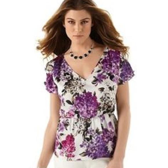 dca5046de49e6c White House Black Market Tops | Flower Print Blouse | Poshmark